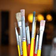 Several brushes for painting